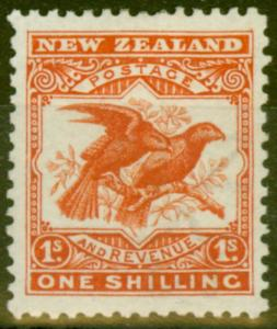 New Zealand 1907 1s Orange-Red SG381 P.14 x 13.5 Fine & Fresh Mtd Mint