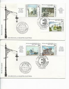 VENEZUELA 1988 100 years of Electric Industry 2 FDC COMPLETE SET ON 2 COVERS