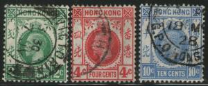 HONG KONG Used Scott # 130,133,137 King George V - rem, pencil # (3 Stamps)-2