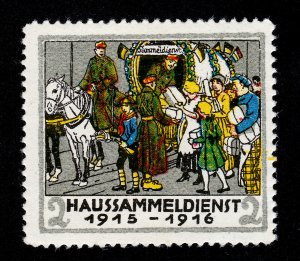 WWI AUSTRIA 1914-1915 HAUSSAMMELDIENST (HOUSE COLLECTION SERVICE) POSTER STAMP