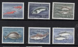 Greenland Sc 136-41 1981-1986 Fish stamp set mint NH