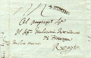 Italy Rimino 1808 serifed sl on Stampless Folded Letter to Reggio.  Under Fre...