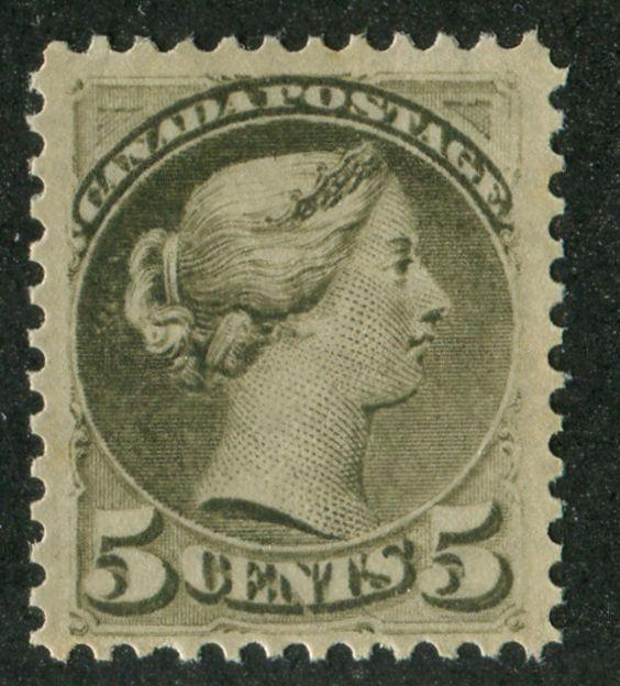 Canada #38 5c Slate Green Sm. Queen -  P.12 x 12.1 Montreal Ptg VF-75 OG NH