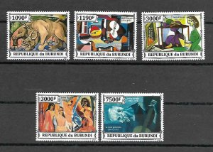 Burundi MNH Set Of 5 Pablo Picasso Art 2013