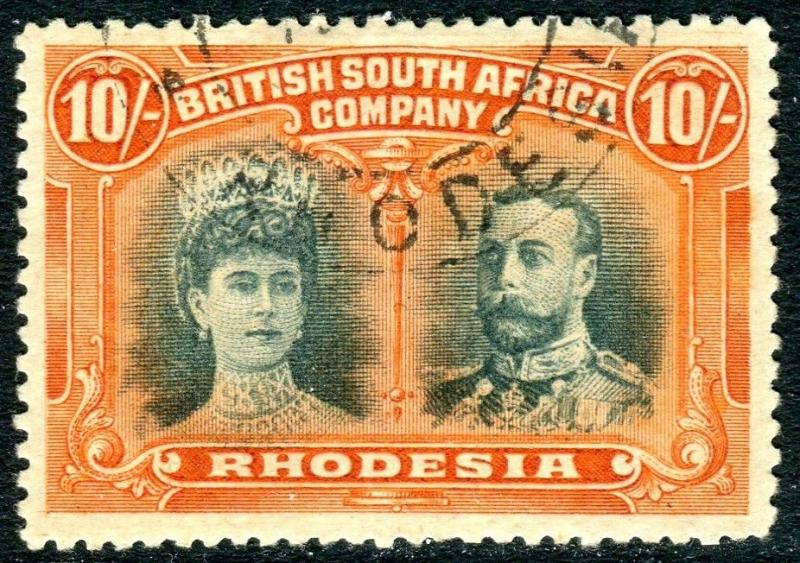 RHODESIA-1910-13 10/- Blue-Green & Orange. A very fine used example Sg 164