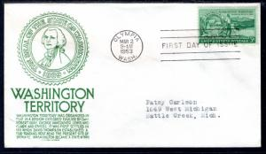 US 1019 Washington Territory C Anderson Green Typed FDC