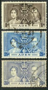 ADEN 1937 KGVI CORONATION Set Sc 13-15 VFU