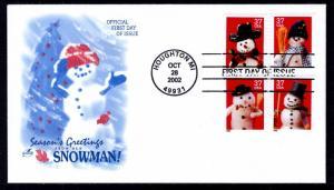 US 3684-3687 Christmas Snowmen Artcraft U/A FDC