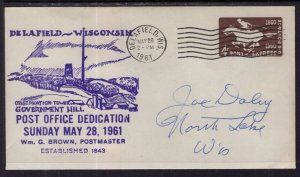 US Post Office Dedication,Dealfield,WI 1961 Cover