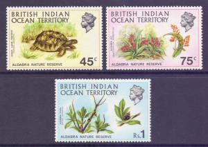 Indian Ocean Terr BIOT Scott 39/41, 1971 Aldabra Nature Reserve Short Set MNH**