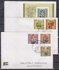 Palestine, Scott cat. 54-58, 59. Flowers set & s/sheet. 3 First day covers. ^ ^