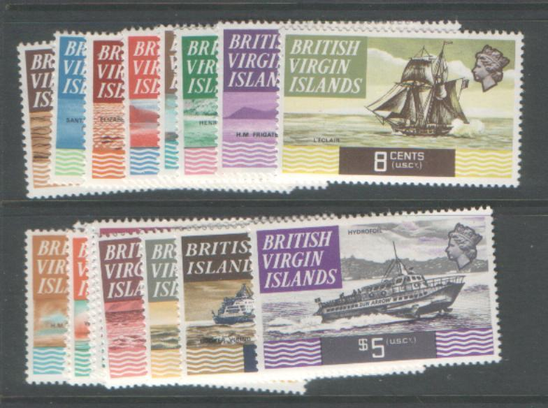 BR VIRGIN IS 1970 SHIPS SG240/56 UNMOUNTED MINT CAT £35 =$70
