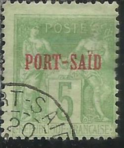 PORT SAID 1899 1900 NAVIGATION AND COMMERCE CENT. 5 USATO USED OBLITERE'