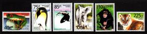 Netherlands Antilles MNH Scott #923-#928 Set of 6 Tree toad, King penguin, Ki...