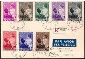 Belgium, 1937 registered multiffranked postcard to Switzerland     -CP04