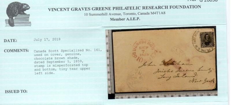 Canada #16 Used On Grand Trunk Railway Cover To Long Island NY **With Cert.**