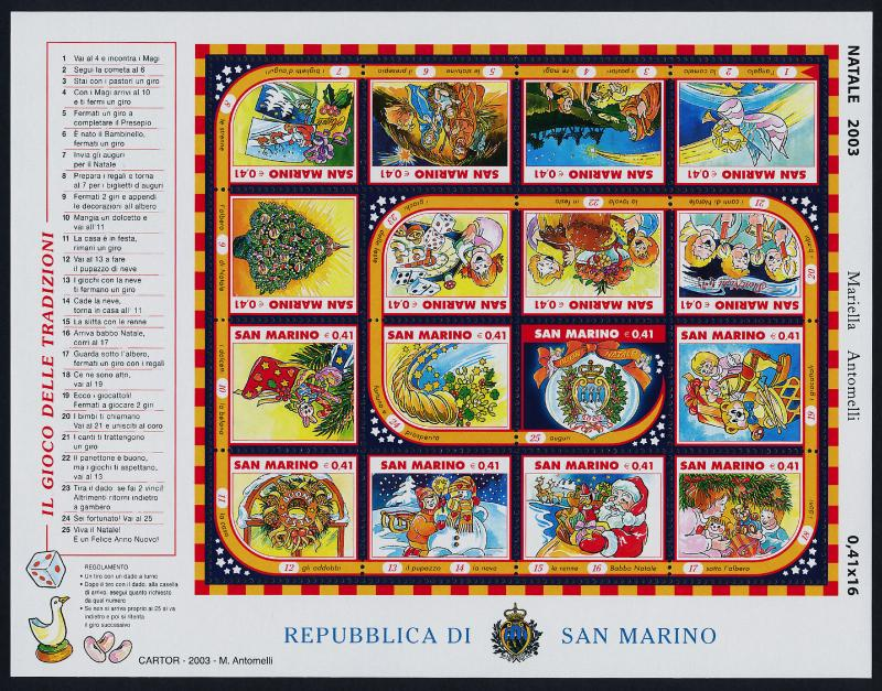 San Marino 1593 MNH Christmas Tree, Games, Nativity, Angel