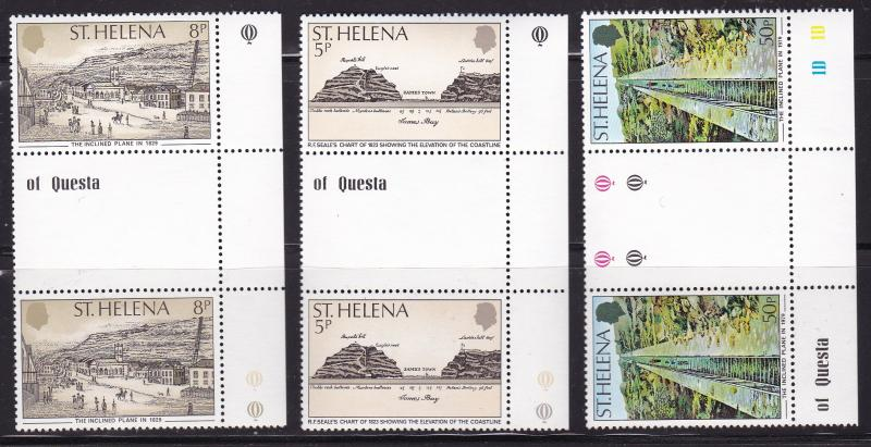 St. Helena 1979 Inclined Plane  issue in Gutter Pairs Margin copy VF/NH