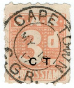 (I.B) South Africa Railways : Parcel Stamp 3d (Cape Town)