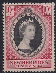 New Hebrides 1953 QE2 10ct Coronation MM SG 79 ( R1163 )