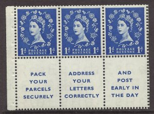 SB29 1d Wilding booklet pane perf type IE - Top UNMOUNTED MNT/MNH