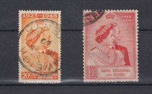 Kenya Uganda and Tanganyika KGVI 1948 Silver Wedding Set SG157/158 VFU JK5407