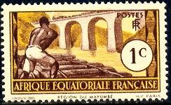 Logging On Loeme River, French Equatorial Africa SC#33 mint