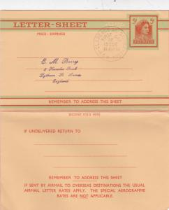 Australia 1961 Letter Sheet 5d First Day of Issue Clarence Street Sydney-UK VGC