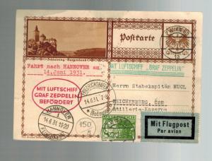 1931 Vienna Austria Graf Zeppelin postcard cover Hannover Flight Czechoslovakia