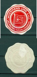 Spain. Seal Embossed 1950s. MH. Woermann Ship Line. Las Palms (Gran Canaries )