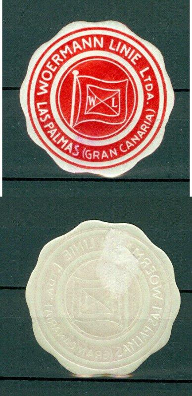 Spain. Seal Embossed 1950s. MH. Woermann Ship Line. Las Palms (Gran Canaries )