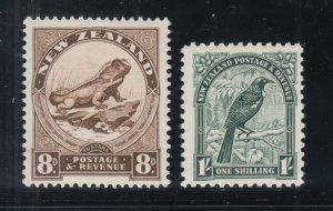 New Zealand Sc 194, 196 MLH. 1935 8p Lizard & 1sh Parson Bird, VLH & VF