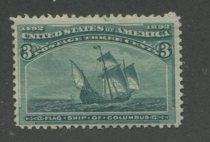 1893 US Stamp #232 3c Mint Hinged F/VF Original Gum Catalogue Value $40