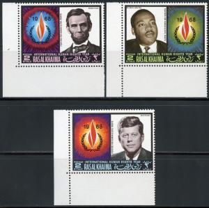 RAS AL KHAIMA  JOHN F. KENNEDY, ABE LINCOLN &  MARTIN LUTHER KING, Jr. MINT NH