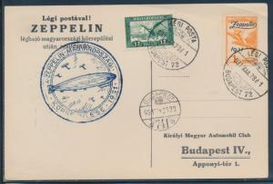 SIEGER #102Aa ZEPPELIN HUNGARY FLIGHT CARD 1931 TO BUDAPEST BU6132