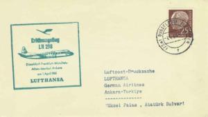 Germany 25pf Heuss 1961 (22a) Dusseldorf-Flughafen Printed matter Lufthansa V...