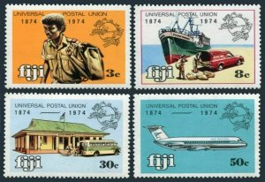 Fiji 347-350,MNH.Michel 320-323. UPU-100,1974.Messenger,Ship,car,P.O.Jet.