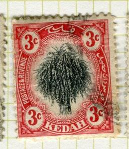 MALAYA KEDAH;   1912 early Rice Sheaf issue fine used 3c. value