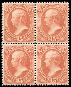 momen: US Stamps #O90 Mint OG NH Block of 4 PF Cert VF