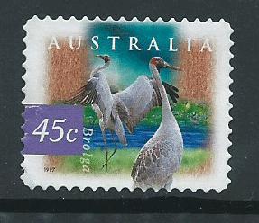 Australia SG 1689 perf 11½  used   self adhesive  Brolga Birds