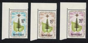 Norfolk Christmas 3v issue 1975 Corners SG#165-167 SC#187-189