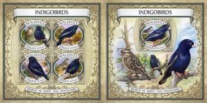 Z08 IMPERF MLD17602ab MALDIVES 2017 Indigo birds MNH ** Postfrisch Set