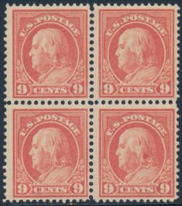 #415 9¢ SALMON RED F-VF OG NH BLK/4 (SOME SEPARATIONS) CV $480 BT9186