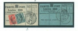 GB PARCEL POST LABEL London x 2 *Earls Court* 1914 Matched Pair 23a.49