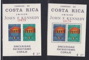Costa Rica # C420a, John F. Kennedy, Perf & Imperf Souvenir Sheets,NH, 1/2 Cat