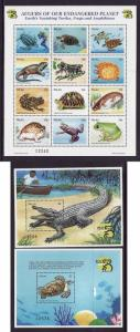 Palau-Scott#495-7-three Unused NH sheets-Turtles-Frogs-Endangered Planet-1999-