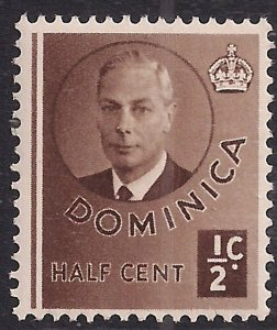 Dominica 1951 KGV1 1/2ct Brown MM  SG 120 ( F1042 )