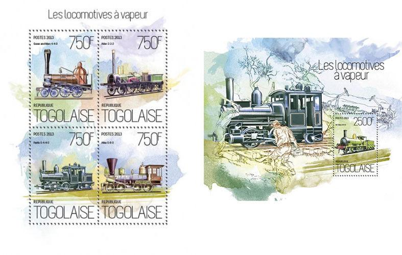 Steam Trains Züge Locomotives Railways Railroads Transport Togo MNH stamp set