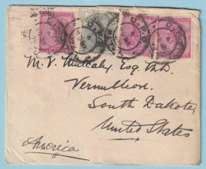 NATAL 1899 COVER TO VERMILLION SOUTH DAKOTA USA - RARE DESTINATION - CV94