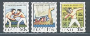 Estonia Sc 241-3 1993 Baltic Sea Games stamp mint NH